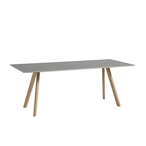 HAY Copenhague CPH30 eettafel Linoleum 200x90cm, grijs linoleum tafelblad frame massief eiken gelijft l x b x h 200x90x74cm