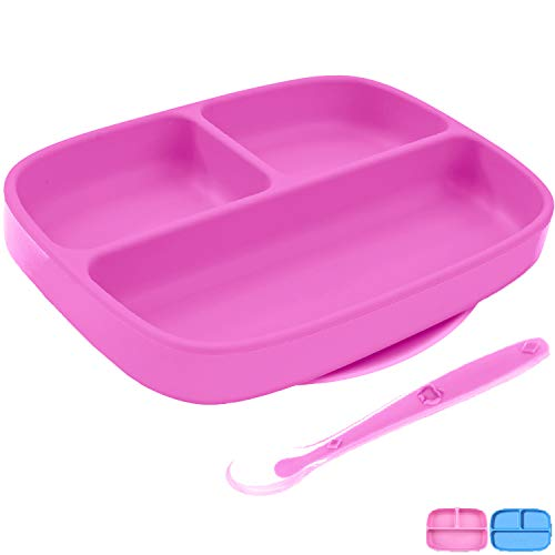 Silikong Suction Plate for Toddlers + Silicone Spoon | BPA Free | Microwave, Dishwasher and Oven Safe | Stay Put Divided Baby Feeding Bowls and Dishes for Kids and Infants (Pink)