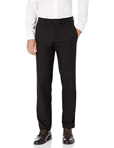 Haggar Men's Cool 18 Pro Straight Fit Flat Front Superflex Waistband Pant, Black, 34Wx32L