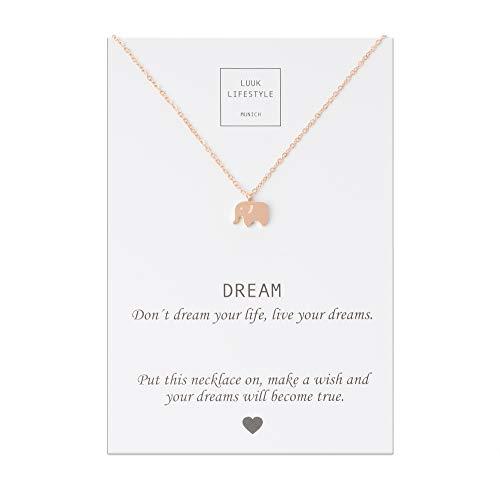 LUUK LIFESTYLE Gioielli donna, gift card, collana con ciondolo a forma di elefante e biglietto regalo con frase Dream, portafortuna, Gioielli donna, gift card, rosa