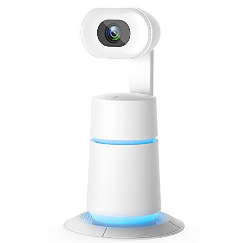 ZasLuke Webcam, 1080P Ringlicht Webcam mit 315° AI Tracking, Privacy Cover, Mikrofon, Auto-Focus USB Webcam für PC Mac-Laptops, Zoom Skype Facetime