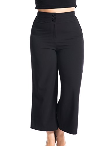 Chicwe Women's Plus Size Cropped Curvy Fit Wide Leg Pants with Wide Waistband - Casual and Work Pants Trousers Black 20