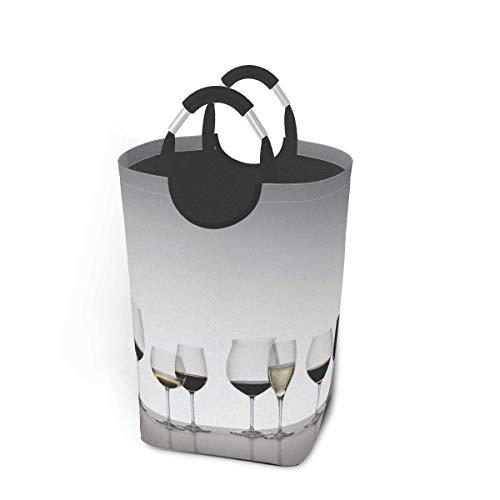 N\A Vaso de Vino Tinto Cesto de lavandería Cubo de Lavado Cesto de Ropa Plegable con asa Almacenamiento de Ropa Sucia 50 litros