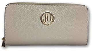 Women Genuine Italian Leather Wallets with Zip Closure, Credit Cards Slots, Bills Slots, Coin Pocket, Cell Phone Compartment (Beige, 8 x 4 x 1 in.)