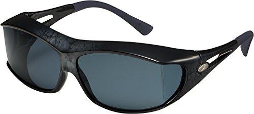 AXE(アックス) サングラス 悪天候・低光量時用 UVカット 偏光レンズ 180度以上視界確保 大型メガネ着用可能 収納ケース付き フレーム:マーブルシルバー/レンズ:ダークスモーク SG605PCS