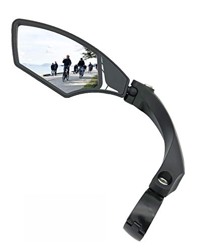 Hafny NEW Handlebar Bike Mirror, HD,Blast-resistant, Glass Lens, HF-MR095 (Silver Left)