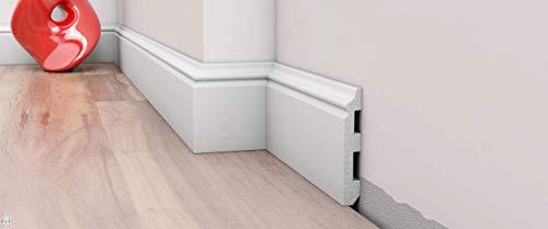 10 Stück / 20 Meter Sockelleiste Fußleisten Bodenleiste - DP5 weiß - 2 Meter & hartes Material