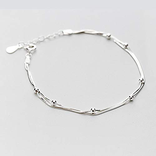 DGFGCS Ladies silver bracelet 925 Sterling Silver Double Round Beads Snake Bone Chain Bracelets & Bangles For Women Lady Fashion Jewelry