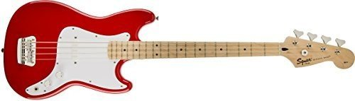 Best Aesthetics: Squier by Fender Bronco Bass, Torino Red with Maple Fingerboard