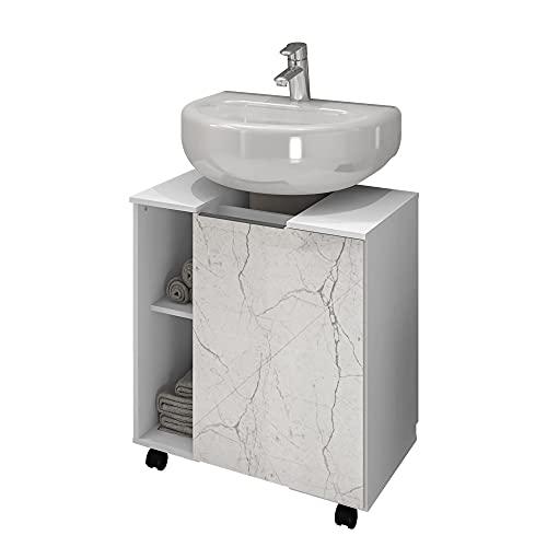 Gabinete Armário Banheiro Pia de Coluna Pequin Bco/Carrara