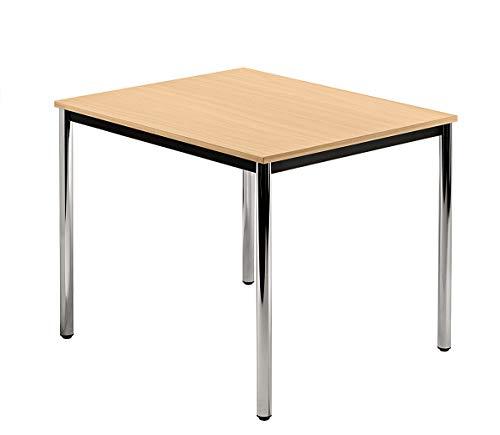 Unbekannt Konferenztisch mit Rund-Rohr Chrom Doran 80 x 80cm Buche