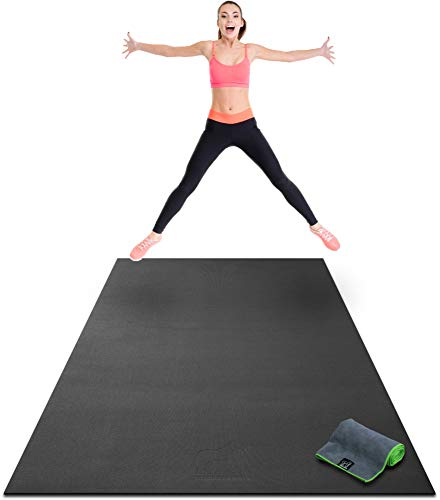 "Premium Extra Large Exercise Mat - 8' x 4' x 1/4"" Ultra Durable, Non-Slip, Workout Mats for Home Gym Flooring - Jump, Cardio, MMA Mat - Use with or Without Shoes (96"" Long x 48"" Wide x 6mm Thick)"
