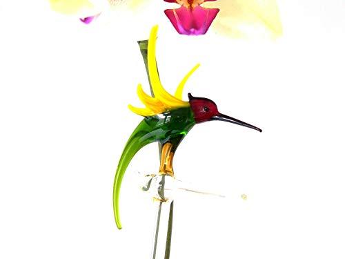 Orchideenstab aus Glas mit Kolibri, Rankhilfe, Blumenstab, Lauscha, Handarbeit
