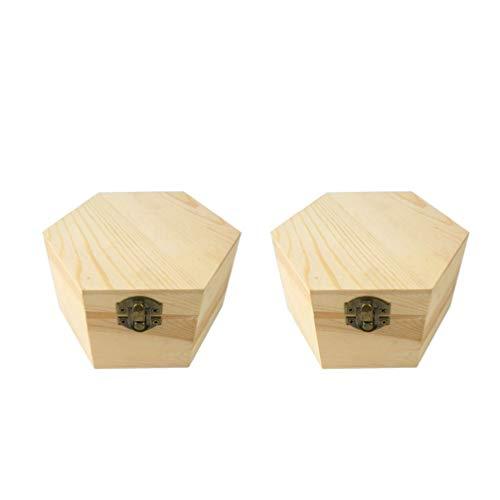 Supvox 2pcs unbemalte Holzkiste hölzerne Display-Box mit Deckel Seife Blumenkasten dekorative Holzbehälter zufällige Sperre Haspe Stil