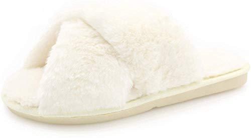 AONEGOLD Hausschuhe Damen Winter Warm Plüsche Pantoffeln rutschfeste Flache Flip Flop Slippers Indoor/Outdoor(Weiß,40/41 EU)