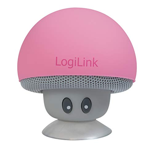 LogiLink - Altoparlante Bluetooth portatile, motivo: mushroom, colore: Rosa
