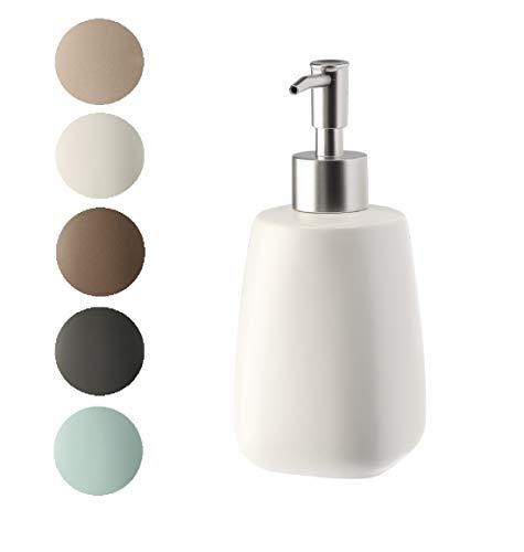 KADAX Seifenspender mit Pumpe, Lotionspender aus Keramik, mattiert, Spender für Flüssigseife, Fassungsvermögen, Spülmittelspender, für Bad, Küche, Flüssigseifen-Spender (Creme)