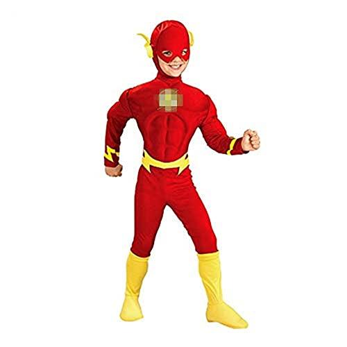 FINDPITAYA Déguisement Flash Halloween Noel Enfant Muscle Cosplay Costume avec Masque (L 120-135)
