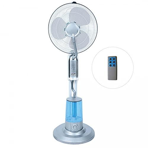 Koem Ventilatore elettrico a piantana con 3 velocità, telecomando, timer, nebulizzatore, diametro pale 40 cm