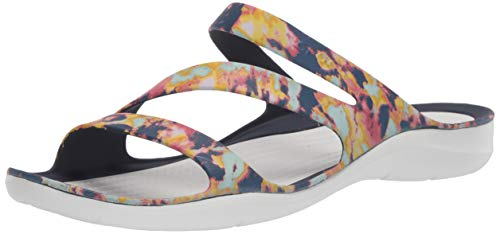 Crocs Women's Swiftwater Tie Dye Sandal|Casual Slip On|Water and Beach Shoe Slide, Navy/Almost White, 8 M US