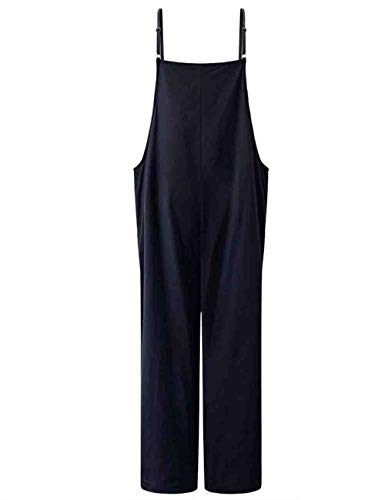 Mujer Peto Verano Hipster Casual Anchas Informales Modernas Pierna Ancha Pantalones Monos Elegantes Vintage Color Sólido Ajustable Straps Overall Trousers (Color : Dunkelblau, Size : XL)