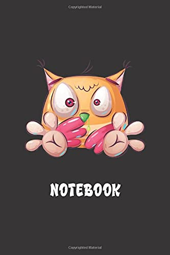 KOOKY OWL NOTEBOOK: Funny black notebook to write in, lined pages with owl image, perfect gift for bird lovers, ideal for women boys girls who love funny animal designs