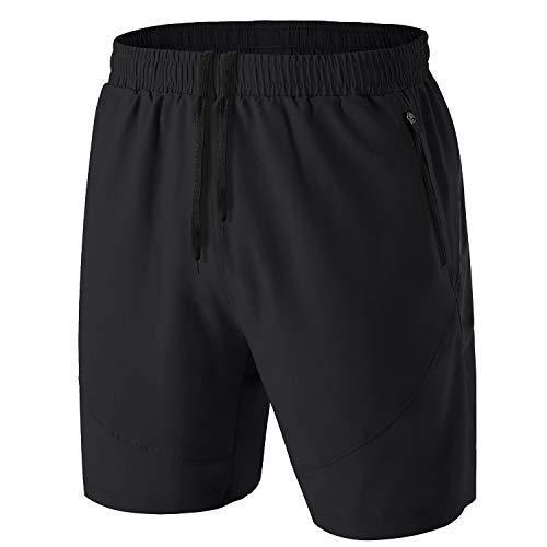 Herren Sport Shorts Kurze Hose Schnell Trocknend Sporthose Leicht mit Reißverschlusstasche(Schwarz,EU-3XL/US-2XL)