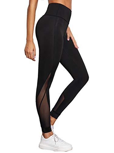 SOLY HUX Leggings De Sport Femme Pantalon De Yoga Jogging Fitness Gym Legging Long avec Tulle Taille Haute Casual Slim Noir 2-S
