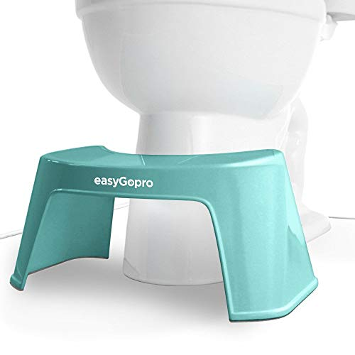 easygopro 7.5' Original Blue Ergonomic Bathroom Toilet Stool | One Size Fits All | Compact | Sturdy | Made in USA | Blue