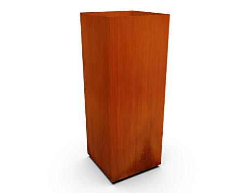 PLANTERCRAFT Corten Steel Metal Planter Box, Tall-Cube Sizes, Modern Garden Steel planters for Commercial and Residential Outdoor Use.