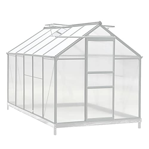 MUPATER Polycarbonate Greenhouse for Outdoor, Walk-in Garden Green House Kit for Plants in Winter with Heavy Duty Aluminum Frame, Base, Sliding Door and Adjustable Roof Vent, 6' x 10' x 6', Silver