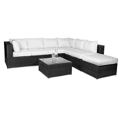 Vanage Montreal Gartenmöbel-Set XXXL, schöne Polyrattan Lounge Möbel für Garten, Balkon und Terrasse 2 Dreisitzer, schwarz/weiß