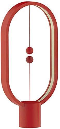 Lámpara de mesa LED redonda inteligente con equilibrio de carga USB, magnética, portátil, lectura, noche, lámpara de mesita de noche, color negro/rojo/blanco