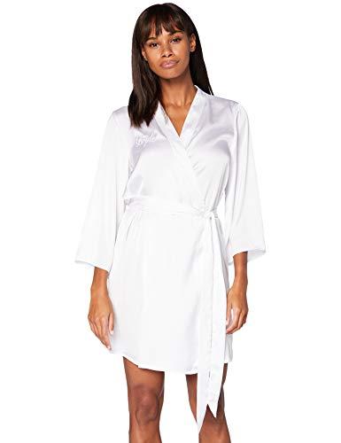 Iris & Lilly Bata Kimono de Algodón Mujer, Blanco (White Bride), XS, Label: XS