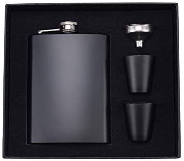 Selling and selling Sales results No. 1 Hip Flask for Liquor 8 Oz Matte Black Stainless Leak Steel