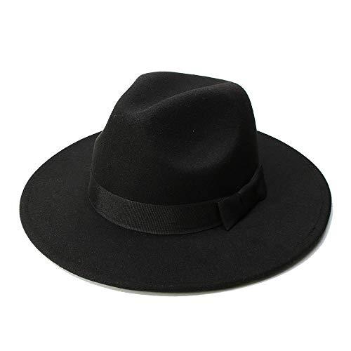 Hat Sonnenhüte Big Size for Damen Herren Fedora Hut Wolle Sombrero Fedora Panama Jazz Hut Black Ribbon (Farbe : Schwarz, Größe : 59-61CM)