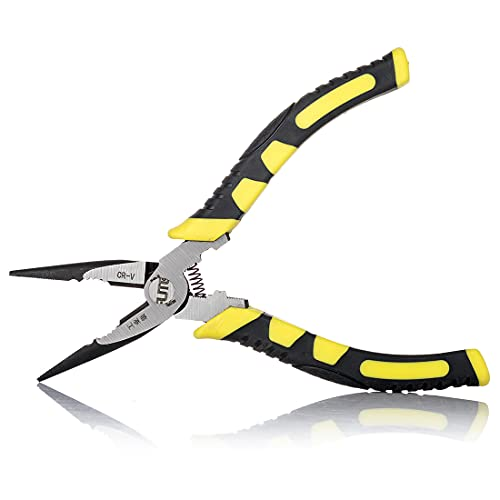 8 inch Needle Nose Pliers with Wire Cutter Linesman Pliers for Crimping,Cutting,Crimping, Shearing Chrome Vanadium Steel Forged  Rust-Proof Coated Comfort Grips…