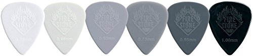 Fire Stone Plettro, Plectrum/Pick Nylon, Forma 351, Superfice'Relief', 1.00 mm, Nero, 12 Pezzi