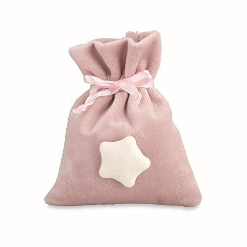 Cupido Bomboniera Sacchetto in Velluto Rosa con Inserto Stella Bianca 12 pz Art 28164
