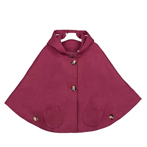 Kids Girls Wool Blend Hoodie Capes Poncho Children Spring Autumn Winter Car Seat Jacket Outwear (Burgundy, 5-6 Years)