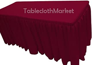 6' Ft. Fitted Tablecloth Double Pleated Polyester Table Skirt Cover W/top Topper Burgundy