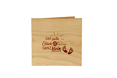 Holzgrußkarten Glückwunschkarte Baby Geburt - 100% Made in Austria - Karte besteht aus Kirschholz - geeignet als Karte zur Geburt, Geburtskarte, Geschenk zur Geburt, Grußkarte, Babykarte uvm.