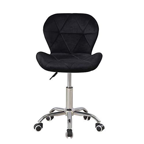 Samt Schreibtischstuhl Schwarz Bürostuhl Ohne Armlehne Arbeitsstuhl Drehstuhl Computerstuhl Office Chair Höhenverstellbar (Schwarz)