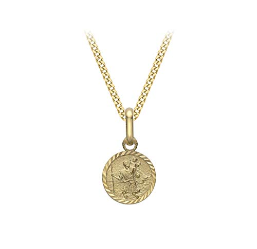 Carissima Gold Women's 9ct Yellow Gold Diamond Cut and Satin Round St Christopher Pendant 7.9mm x 15.5mm on 9ct Yellow Gold Diamond Cut Curb Chain Necklace - 0.4mm - Length 46cm/18'