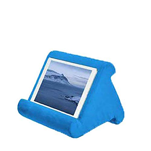 NMDD Mobile phone tablet computer universal stand desktop portable with multifunctional pillow support shelf with side storage bag,Blue