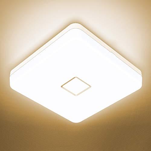 Onforu 24W LED Deckenleuchte Bad, IP54 Wasserdicht Deckenlampe Badlampe, 2100lm 2700K Warmweiß Küchenlampe, Quadratisch Badezimmerlampe Decke Lampe für Küche, Badezimmer, Schlafzimmer, Wohnzimmer