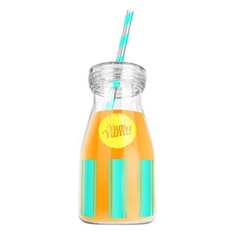 Mustard Yum Yum!! Bouteille plastique réutilisable + paille coloris jaune/vert (special sodas, smoothies...)