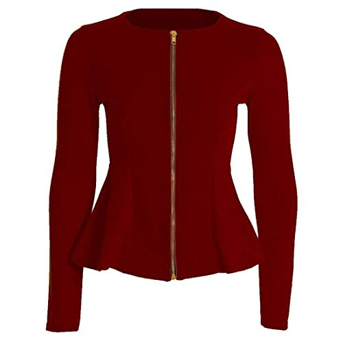Planet_Fancy_Dress Womens Plain Rits Peplum Frill Op maat gemaakt Blazer Jas Lange Mouw Dames Jas Top