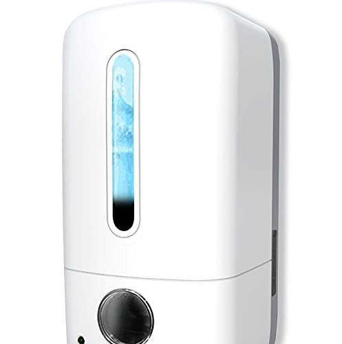 Touchless Wall Mount Hand Sanitizer Dispenser 1100ml/37oz USB Rechargeable Automatic Soap Dispenser Wall Mounted Hand Free Commercial Dispenser with Smart Sensor No Punch for Kitchen Bathroom, White