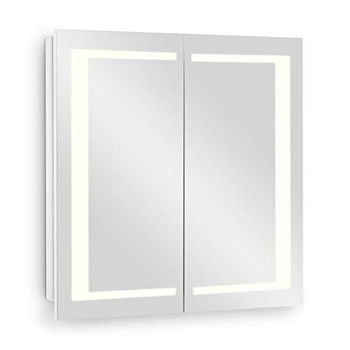 Galdem Spiegelschrank EDGE60 Badezimmerschrank 60cm 2 türig mit LED - Beleuchtung Softclose Funktion Steckdose Badezimmer Spiegel Flurspiegel